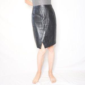 HALOGEN Leather Lined Black Patch Skirt 6 493